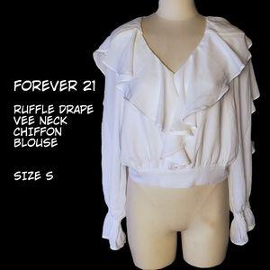 Forever 21 Ruffle Drape Vee Neck Chiffon Blouse